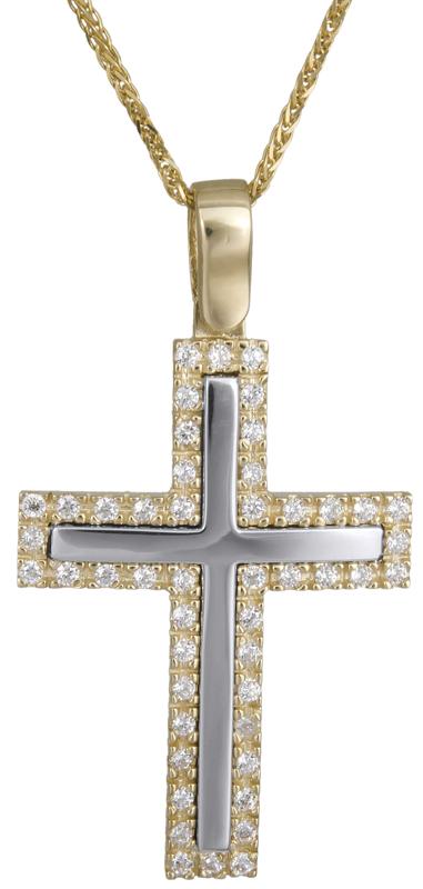 Βαπτιστικοί Σταυροί με Αλυσίδα Δίχρωμος γυναικείος σταυρός 14Κ C022615 022615C Γυναικείο Χρυσός 14 Καράτια