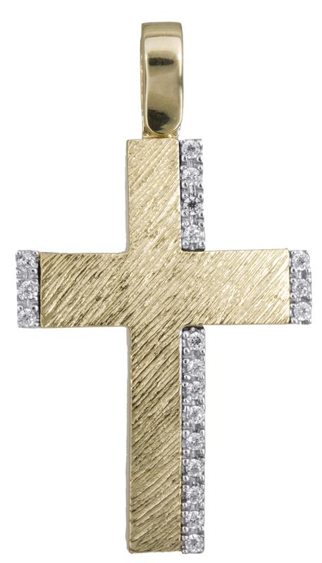 Σταυροί Βάπτισης - Αρραβώνα Γυναικείος σταυρός δίχρωμος Κ14 022616 022616 Γυναικείο Χρυσός 14 Καράτια