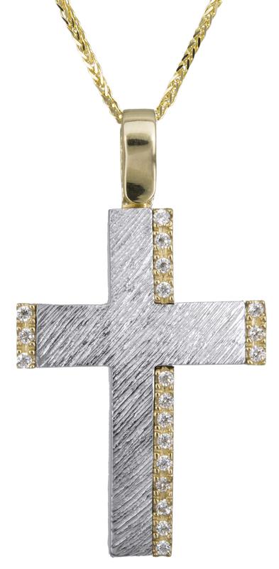 Βαπτιστικοί Σταυροί με Αλυσίδα Γυναικείος σταυρός με πέτρες Κ14 C022617 022617C Γυναικείο Χρυσός 14 Καράτια