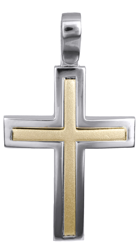 Σταυροί Βάπτισης - Αρραβώνα Δίχρωμος βαπτιστικός σταυρός 14Κ 022621 022621 Ανδρικό Χρυσός 14 Καράτια