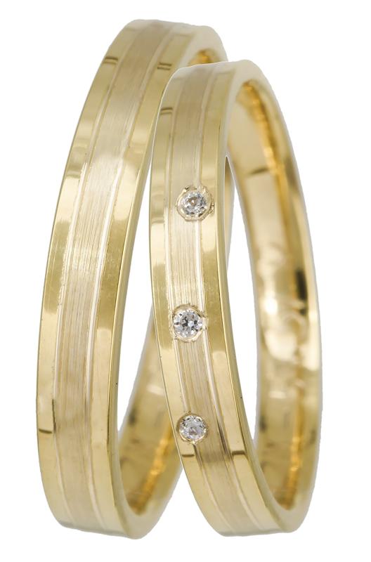 Χρυσές βέρες γάμου Κ14 με ζιργκόν 022694 022694 Χρυσός 14 Καράτια