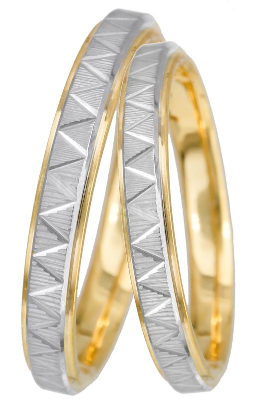 Δίχρωμες σκαλιστές βέρες Κ14 022695 022695 Χρυσός 14 Καράτια μεμονωμένο  τεμάχιο 814e127cf8d