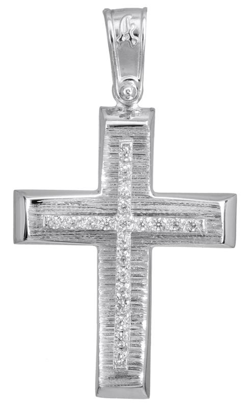 Σταυροί Βάπτισης - Αρραβώνα Λευκόχρυσος γυναικείος σταυρός Κ14 022775 022775 Γυναικείο Χρυσός 14 Καράτια