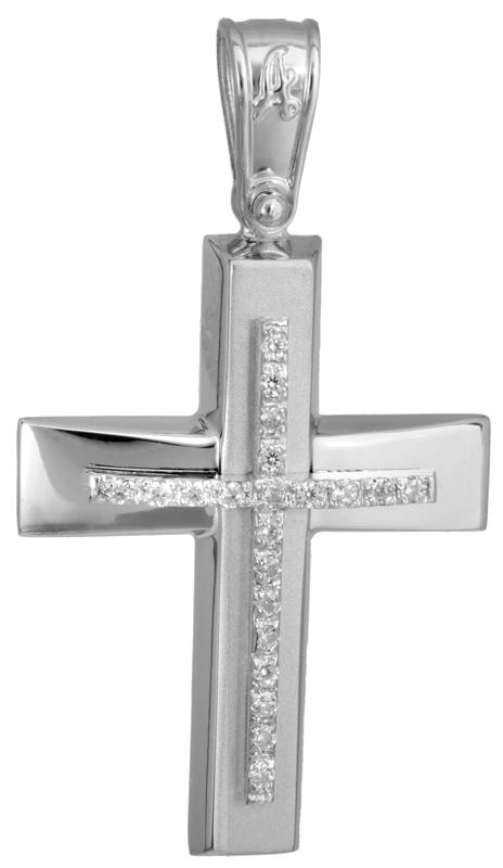 Σταυροί Βάπτισης - Αρραβώνα Λευκόχρυσος σταυρός με πέτρες Κ14 022776 022776 Γυναικείο Χρυσός 14 Καράτια
