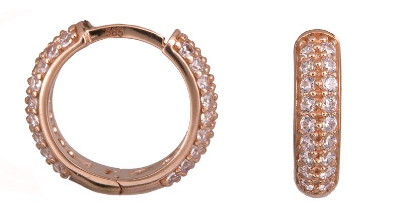 Ροζ gold κρίκοι με πέτρες Κ14 022787 022787 Χρυσός 14 Καράτια