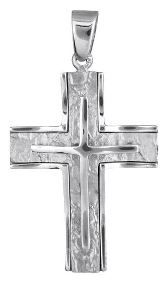 Σταυροί Βάπτισης - Αρραβώνα Λευκόχρυσος αντρικός σταυρός 022795 022795 Ανδρικό Χρυσός 14 Καράτια