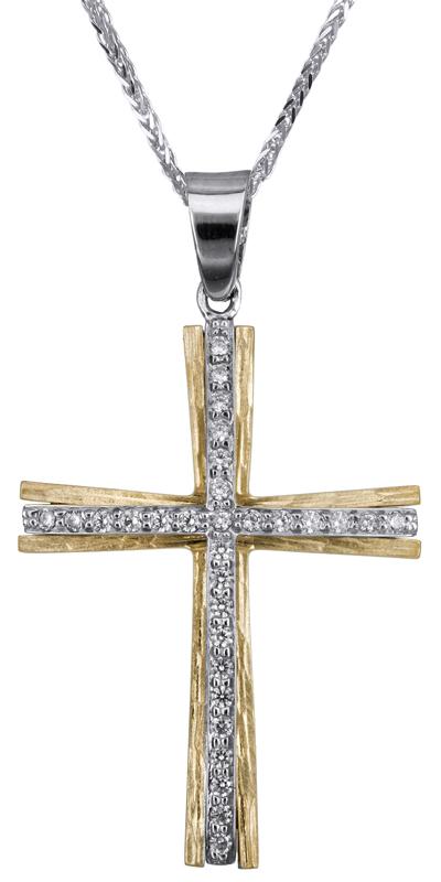 Βαπτιστικοί Σταυροί με Αλυσίδα Σταυρός βάπτισης για κορίτσι Κ14 C022803 022803C Γυναικείο Χρυσός 14 Καράτια