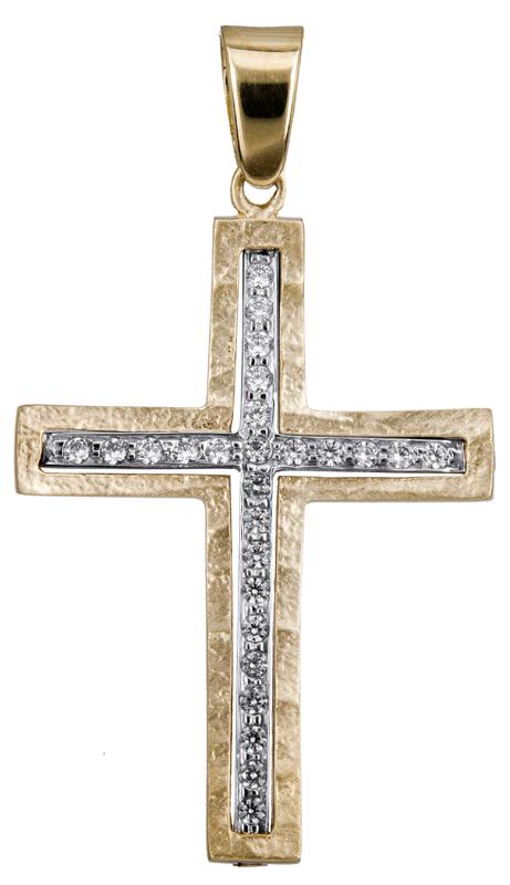 Σταυροί Βάπτισης - Αρραβώνα Βαπτιστικός σταυρός με πέτρες 14Κ 022804 022804 Γυναικείο Χρυσός 14 Καράτια