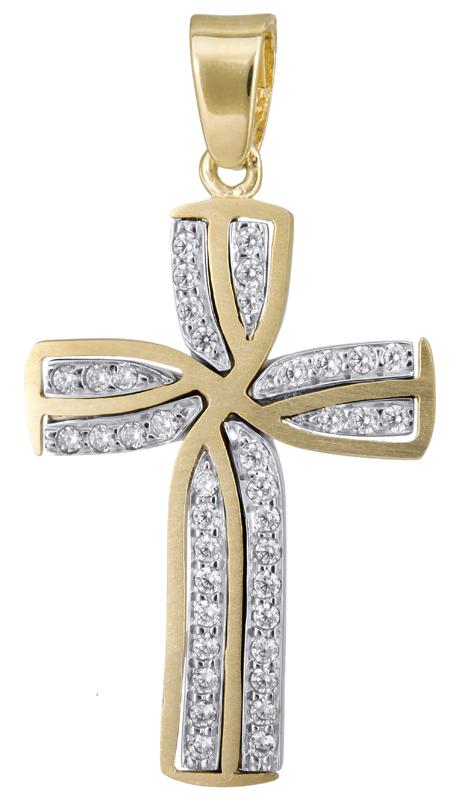 Σταυροί Βάπτισης - Αρραβώνα Γυναικείος σταυρός με πέτρες Κ14 022805 022805 Γυναικείο Χρυσός 14 Καράτια