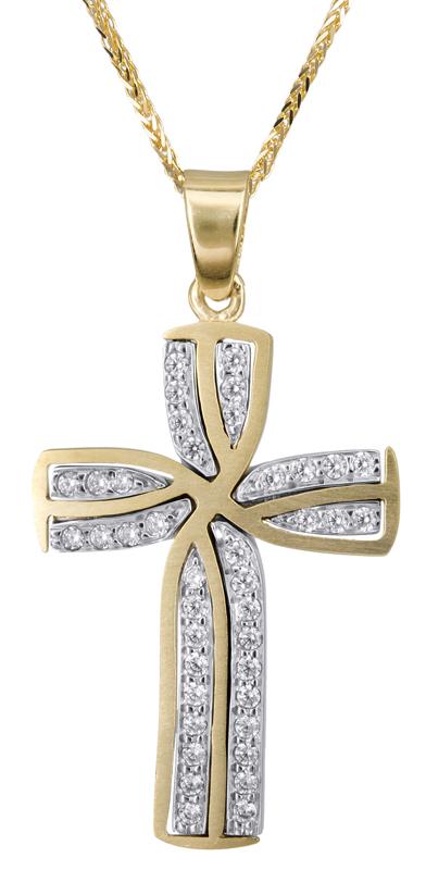 Βαπτιστικοί Σταυροί με Αλυσίδα Γυναικείος σταυρός με πέτρες Κ14 C022805 022805C Γυναικείο Χρυσός 14 Καράτια