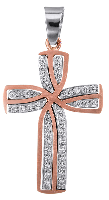 Σταυροί Βάπτισης - Αρραβώνα Ροζ gold γυναικείος σταυρός Κ14 022806 022806 Γυναικείο Χρυσός 14 Καράτια