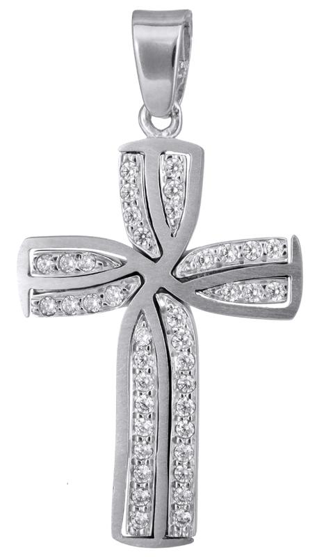 Σταυροί Βάπτισης - Αρραβώνα Λευκόχρυσος σταυρός με ζιργκόν Κ14 022807 022807 Γυν σταυροί βάπτισης   γάμου σταυροί βάπτισης   αρραβώνα