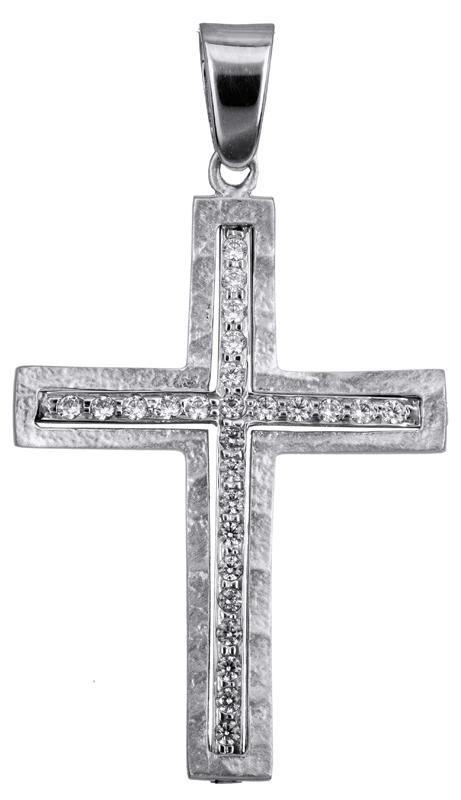 Σταυροί Βάπτισης - Αρραβώνα Λευκόχρυσος βαπτιστικός σταυρός 14Κ 022808 022808 Γυναικείο Χρυσός 14 Καράτια