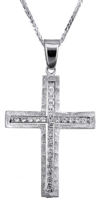 Βαπτιστικοί Σταυροί με Αλυσίδα Λευκόχρυσος σταυρός βάπτισης 14Κ C022808 022808C Γυναικείο Χρυσός 14 Καράτια