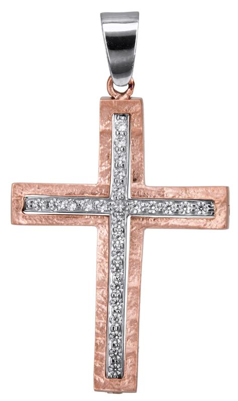 Σταυροί Βάπτισης - Αρραβώνα Ροζ gold γυναικείος σταυρός 14Κ 022809 022809 Γυναικ σταυροί βάπτισης   γάμου σταυροί βάπτισης   αρραβώνα