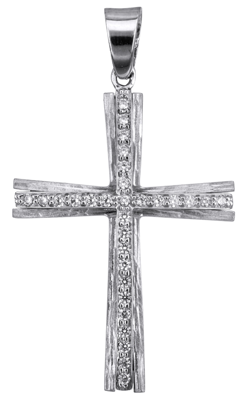 Σταυροί Βάπτισης - Αρραβώνα Λευκόχρυσος σταυρός με ζιργκόν Κ14 022810 022810 Γυναικείο Χρυσός 14 Καράτια