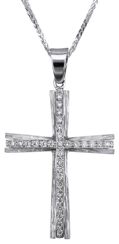 Βαπτιστικοί Σταυροί με Αλυσίδα Λευκόχρυσος σταυρός βάπτισης Κ14 C022810 022810C Γυναικείο Χρυσός 14 Καράτια