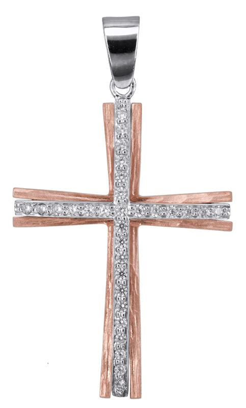Σταυροί Βάπτισης - Αρραβώνα Ροζ gold σταυρός σταυρός βάπτισης Κ14 022811 022811 Γυναικείο Χρυσός 14 Καράτια