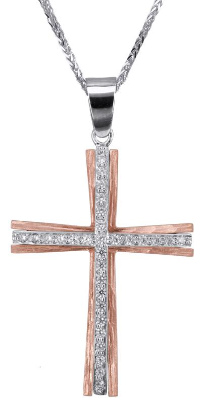 Βαπτιστικοί Σταυροί με Αλυσίδα Βαπτιστικός σταυρός για κορίτσι Κ14 C022811 022811C Γυναικείο Χρυσός 14 Καράτια