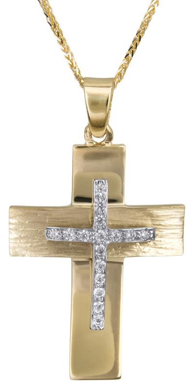 Βαπτιστικοί Σταυροί με Αλυσίδα Σταυρός γυναικείος με καδένα 14Κ C022812 022812C Γυναικείο Χρυσός 14 Καράτια