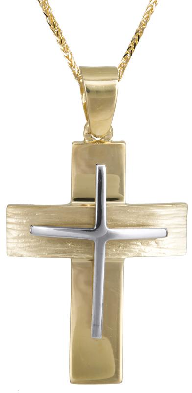 Βαπτιστικοί Σταυροί με Αλυσίδα Δίχρωμος αντρικός σταυρός με αλυσίδα 14Κ C022813 022813C Ανδρικό Χρυσός 14 Καράτια