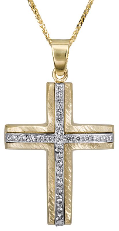 Βαπτιστικοί Σταυροί με Αλυσίδα Γυναικείος σταυρός με ζιργκόν Κ14 C022814 022814C Γυναικείο Χρυσός 14 Καράτια