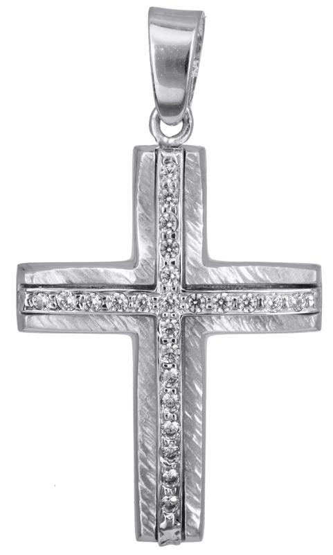 Σταυροί Βάπτισης - Αρραβώνα Λευκόχρυσος γυναικείος σταυρός Κ14 022815 022815 Γυναικείο Χρυσός 14 Καράτια
