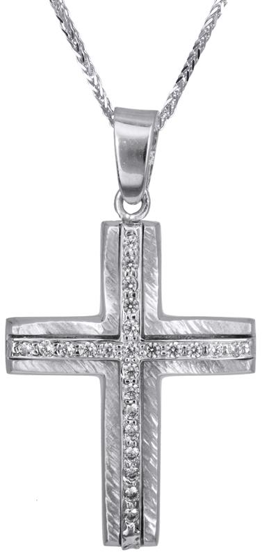 Βαπτιστικοί Σταυροί με Αλυσίδα Λευκόχρυσος σταυρός για κορίτσι Κ14 C022815 022815C Γυναικείο Χρυσός 14 Καράτια
