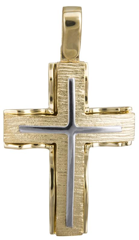 Σταυροί Βάπτισης - Αρραβώνα Ανδρικός δίχρωμος σταυρός Κ14 022821 022821 Ανδρικό Χρυσός 14 Καράτια