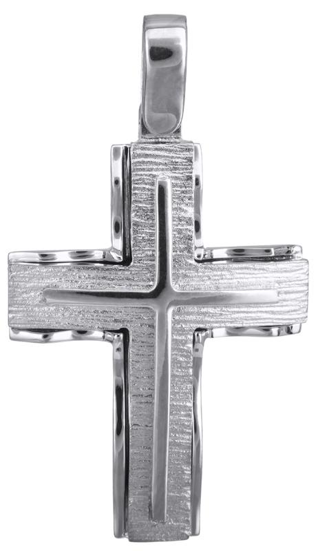 Σταυροί Βάπτισης - Αρραβώνα Ανδρικός λευκόχρυσος σταυρός Κ14 022822 022822 Ανδρικό Χρυσός 14 Καράτια