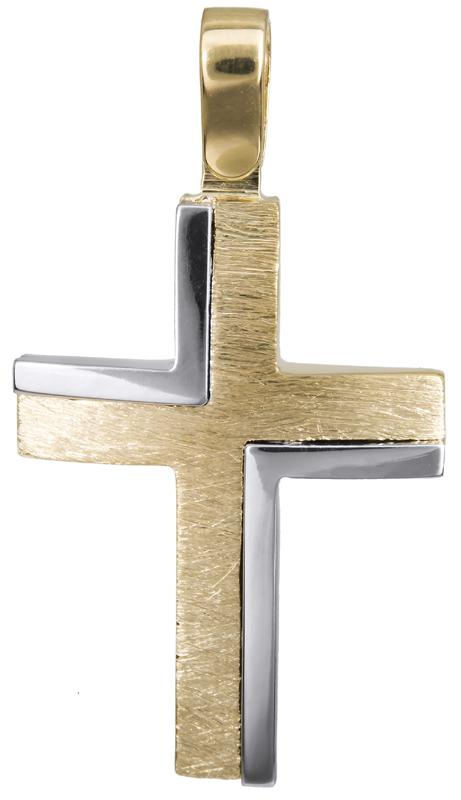 Σταυροί Βάπτισης - Αρραβώνα Δίχρωμος αντρικός σταυρός 14Κ 022823 022823 Ανδρικό Χρυσός 14 Καράτια