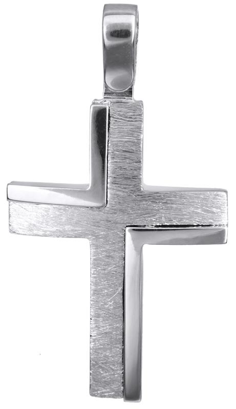 Σταυροί Βάπτισης - Αρραβώνα Λευκόχρυσος αντρικός σταυρός 14Κ 022824 022824 Ανδρικό Χρυσός 14 Καράτια