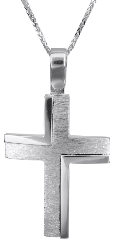 Βαπτιστικοί Σταυροί με Αλυσίδα Λευκόχρυσος βαπτιστικός σταυρός 14Κ C022824 022824C Ανδρικό Χρυσός 14 Καράτια