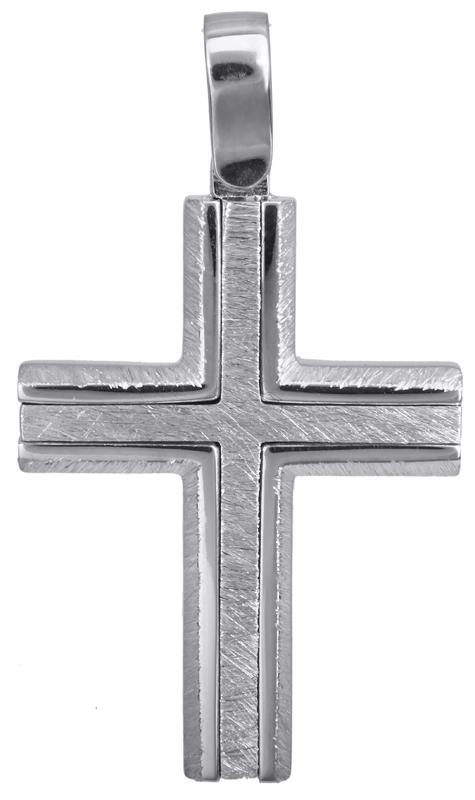 Σταυροί Βάπτισης - Αρραβώνα Λευκόχρυσος ανάγλυφος σταυρός Κ14 022826 022826 Ανδρικό Χρυσός 14 Καράτια