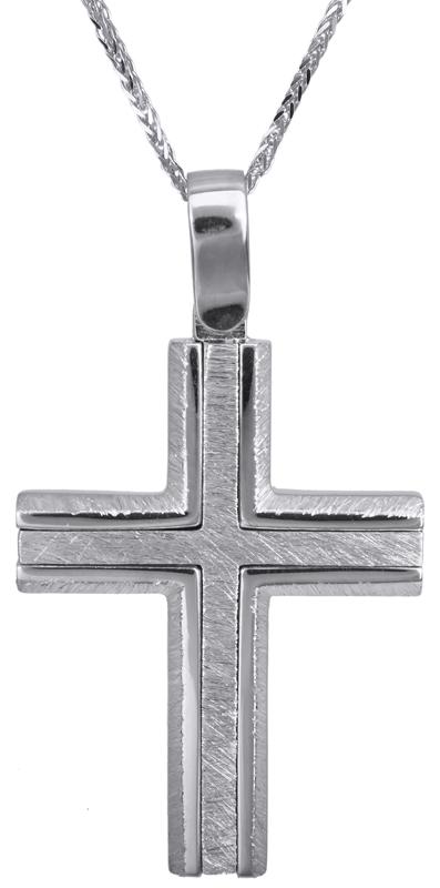 Βαπτιστικοί Σταυροί με Αλυσίδα Λευκόχρυσος σταυρός για αγόρι Κ14 C022826 022826C Ανδρικό Χρυσός 14 Καράτια