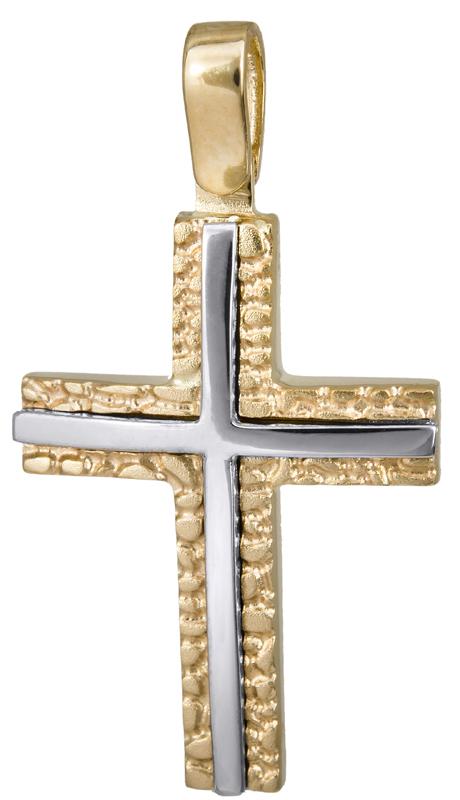 Σταυροί Βάπτισης - Αρραβώνα Αντρικός ανάγλυφος σταυρός 14Κ 022827 022827 Ανδρικό Χρυσός 14 Καράτια