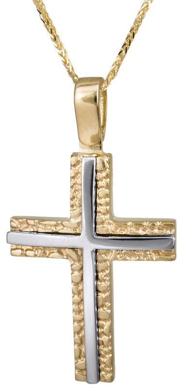 Βαπτιστικοί Σταυροί με Αλυσίδα Δίχρωμος σταυρός με καδένα 14Κ C022827 022827C Ανδρικό Χρυσός 14 Καράτια
