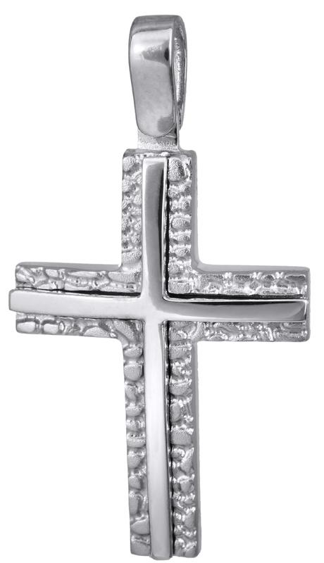 Σταυροί Βάπτισης - Αρραβώνα Λευκόχρυσος ανάγλυφος σταυρός 14Κ 022828 022828 Ανδρικό Χρυσός 14 Καράτια