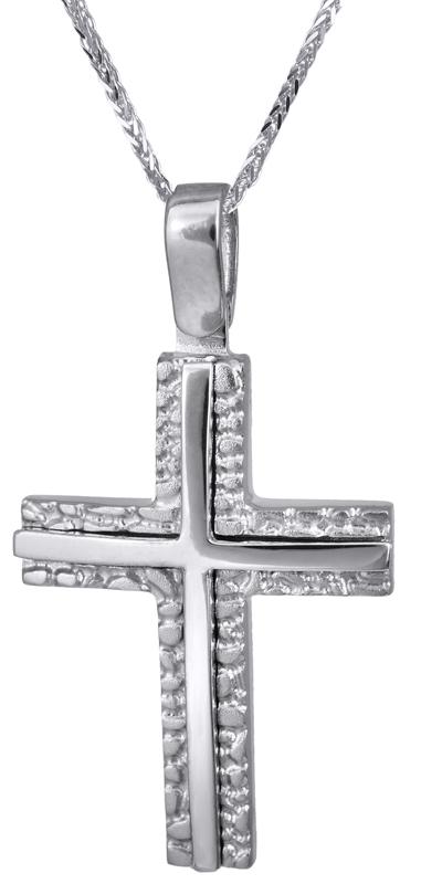 Βαπτιστικοί Σταυροί με Αλυσίδα Λευκόχρυσος σταυρός με αλυσίδα 14Κ C022828 022828C Ανδρικό Χρυσός 14 Καράτια