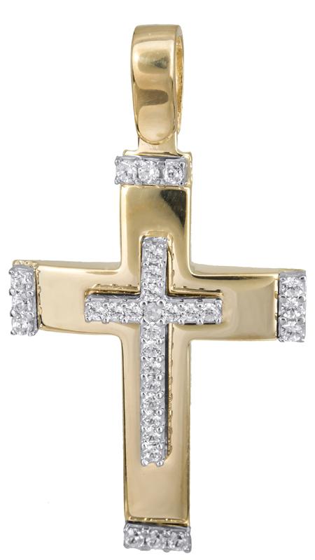 Σταυροί Βάπτισης - Αρραβώνα Γυναικείος σταυρός με πέτρες 14Κ 022831 022831 Γυναικείο Χρυσός 14 Καράτια