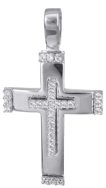 Σταυροί Βάπτισης - Αρραβώνα Γυναικείος λευκόχρυσος σταυρός με πέτρες 14Κ 022832 022832 Γυναικείο Χρυσός 14 Καράτια