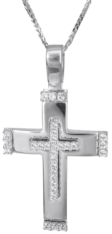 Βαπτιστικοί Σταυροί με Αλυσίδα Λευκόχρυσος σταυρός με καδένα 14Κ C022832 022832C Γυναικείο Χρυσός 14 Καράτια