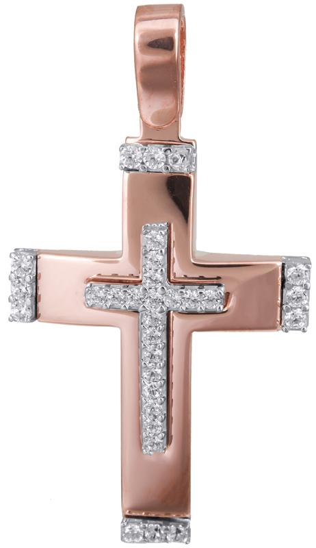Σταυροί Βάπτισης - Αρραβώνα Γυναικείος σταυρός ροζ gold 14Κ 022833 022833 Γυναικ σταυροί βάπτισης   γάμου σταυροί βάπτισης   αρραβώνα