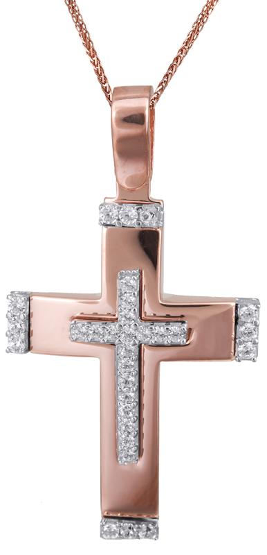 Βαπτιστικοί Σταυροί με Αλυσίδα Ροζ gold σταυρός με αλυσίδα 14Κ C022833 022833C Γυναικείο Χρυσός 14 Καράτια