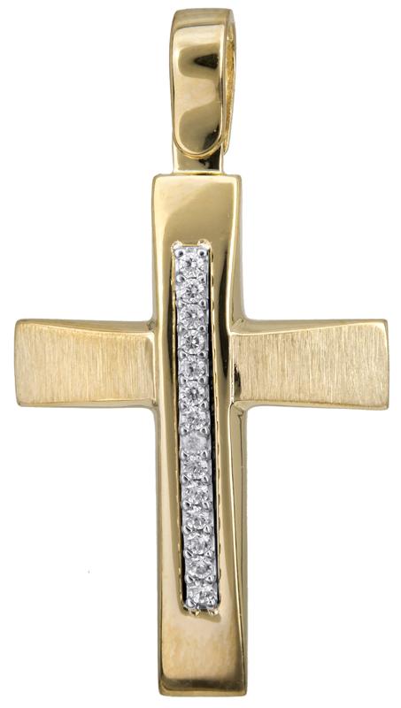 Σταυροί Βάπτισης - Αρραβώνα Γυναικείος δίχρωμος σταυρός με πέτρες 14Κ 022834 022834 Γυναικείο Χρυσός 14 Καράτια