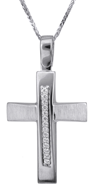 Βαπτιστικοί Σταυροί με Αλυσίδα Λευκόχρυσος βαπτιστικός σταυρός 14Κ C022835 022835C Γυναικείο Χρυσός 14 Καράτια
