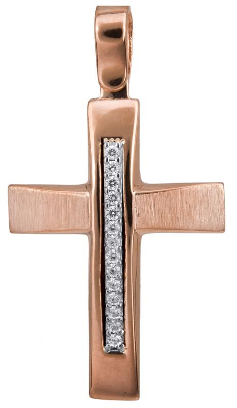 Σταυροί Βάπτισης - Αρραβώνα Γυναικείος σταυρός ροζ gold 14Κ 022836 022836 Γυναικείο Χρυσός 14 Καράτια