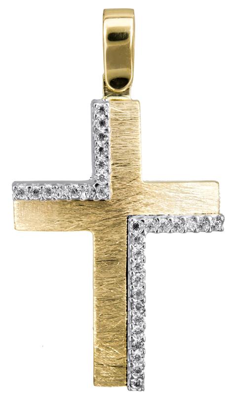 Σταυροί Βάπτισης - Αρραβώνα Γυναικείος δίχρωμος σταυρός Κ14 022837 022837 Γυναικείο Χρυσός 14 Καράτια