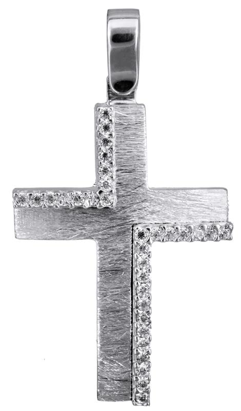 Σταυροί Βάπτισης - Αρραβώνα Λευκόχρυσος γυναικείος σταυρός Κ14 022838 022838 Γυναικείο Χρυσός 14 Καράτια