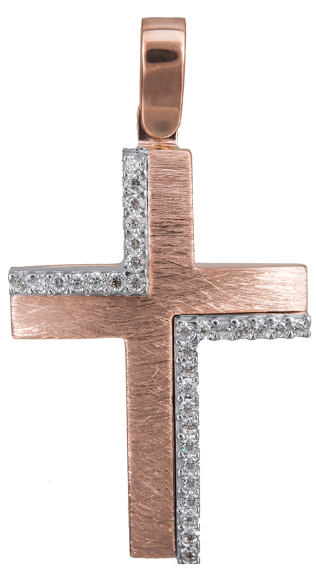 Σταυροί Βάπτισης - Αρραβώνα Ροζ gold γυναικείος σταυρός Κ14 022839 022839 Γυναικ σταυροί βάπτισης   γάμου σταυροί βάπτισης   αρραβώνα